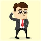 Ejemplo plano del vector Hombre de negocios que rasguña su cabeza Imagen de archivo libre de regalías