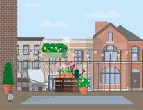 Ejemplo plano del vector Muebles del jardín en el balcón adornado con los potes de flores imagen de archivo libre de regalías