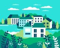 Ejemplo plano del vector del paisaje del pueblo Edificios, colinas, la foto de archivo libre de regalías