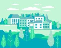 Ejemplo plano del vector del paisaje del pueblo Edificios, colinas, la imagen de archivo libre de regalías