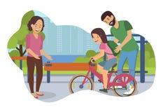 Ejemplo plano del vector que aprende montar la bici stock de ilustración