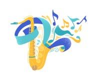 Ejemplo plano del vector del saxofón de oro foto de archivo