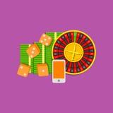 Ejemplo plano en línea de juego coloreado en fondo púrpura Roulette, los cubos de los dados, teléfono móvil y paquete de efectivo Fotografía de archivo