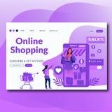 Ejemplo plano en línea de la página del aterrizaje del estilo que hace compras para la página web libre illustration