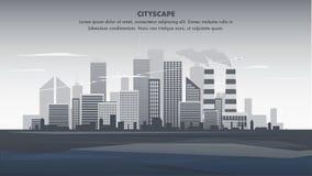 Ejemplo plano Gray Panorama Cityscape de la bandera stock de ilustración