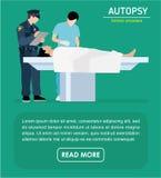 Ejemplo plano La autopsia de la víctima de asesinato ilustración del vector