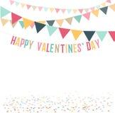 Ejemplo plano lindo feliz mínimo retro del día de tarjetas del día de San Valentín Fondo para la tarjeta de felicitación, anuncio Imagen de archivo