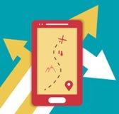 Ejemplo plano móvil de los gps de Smartphone Fotos de archivo