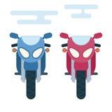 Ejemplo plano moderno de la historieta de la parte delantera de dos motocicletas ilustración del vector
