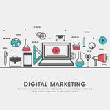 Ejemplo plano moderno para el márketing de Digitaces Imagen de archivo libre de regalías