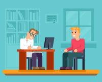 Ejemplo plano paciente enfermo del vector del diseño de los servicios médicos del gabinete del hospital del doctor de la recepció stock de ilustración