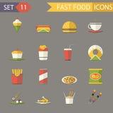 Ejemplo plano retro del vector de los iconos de los alimentos de preparación rápida y del sistema de símbolos Imagen de archivo libre de regalías
