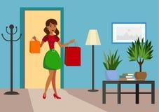 Ejemplo plano satisfecho del vector del comprador en casa ilustración del vector