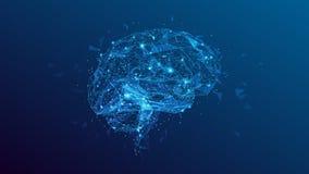 Ejemplo poligonal del cerebro humano en fondo azul stock de ilustración