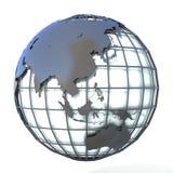 Ejemplo poligonal del estilo del globo de la tierra, de la opinión de Asia y de Oceanía Foto de archivo libre de regalías