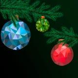 Ejemplo polivinílico bajo del vector de las bolas de la Feliz Navidad Tarjeta de felicitación de la Feliz Año Nuevo o ejemplo del ilustración del vector