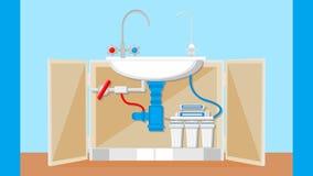 Ejemplo potable del vector del sistema de tratamiento de aguas ilustración del vector