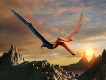 Ejemplo prehistórico de la escena 3D de Anhanguera stock de ilustración