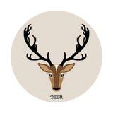 Ejemplo principal del vector de los ciervos, icono animal Foto de archivo
