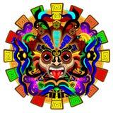 Ejemplo psicodélico del vector de la máscara del guerrero de Sun del Azteca libre illustration