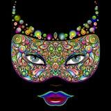Ejemplo psicodélico del vector del partido de la noche del carnaval de la máscara stock de ilustración