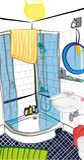 Ejemplo a pulso de la escena del cuarto de baño Imágenes de archivo libres de regalías