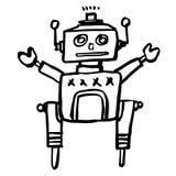 Ejemplo a pulso del bosquejo del robot retro stock de ilustración
