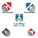 Ejemplo que consiste en cuatro imágenes bajo la forma de logotipo de un satélite Imagen de archivo libre de regalías