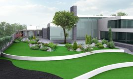 Ejemplo que cultiva un huerto del estado de lujo, 3d exterior con completo ilustración del vector