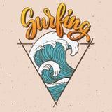 Ejemplo que practica surf de la onda grande Imagen de archivo libre de regalías