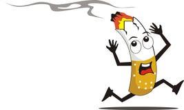 Ejemplo quemado historieta de los cigarrillos stock de ilustración