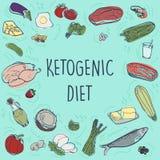 Ejemplo quetogénico de la bandera del bosquejo del vector de la dieta Concepto sano con la colección del ejemplo de la comida - g stock de ilustración