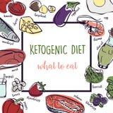 Ejemplo quetogénico de la bandera del bosquejo del vector de la dieta Concepto sano con la colección del ejemplo de la comida - g libre illustration