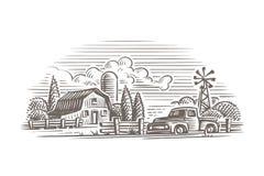 Ejemplo rústico de la granja del estilo del vintage Vector Imagen de archivo libre de regalías