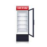 Ejemplo realista abierto vacío del refrigerador ilustración del vector