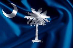 Ejemplo realista de la bandera de Carolina del Sur ilustración del vector