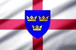 Ejemplo realista de la bandera de East Anglia stock de ilustración
