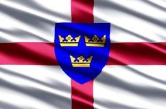Ejemplo realista de la bandera de East Anglia ilustración del vector