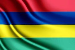 Ejemplo realista de la bandera de Mauricio ilustración del vector