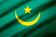 Ejemplo realista de la bandera de Mauritania ilustración del vector
