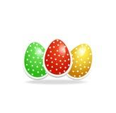 Ejemplo realista de tres huevos de Pascua Foto de archivo