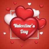Ejemplo realista de Valentine Day Symbol Icon Vector del corazón 3d del diseño ascendente de la mofa de la plantilla de la tarjet Foto de archivo libre de regalías