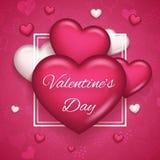 Ejemplo realista de Valentine Day Symbol Icon Vector del corazón 3d del diseño ascendente de la mofa de la plantilla de la tarjet Imagen de archivo
