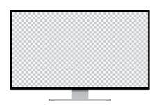 Ejemplo realista del monitor de computadora negro con la pantalla aislada transparente de plata del soporte y del espacio en blan ilustración del vector