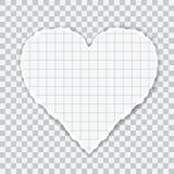 Ejemplo realista del papel ajustado rasgado en forma del corazón Aislado en fondo transparente, vector stock de ilustración
