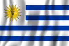 Ejemplo realista del vector de la bandera de Uruguay que agita Símbolo nacional del fondo del país Fondo del grunge de la indepen stock de ilustración