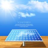 Ejemplo realista del vector de la batería solar, producción de energía Fotografía de archivo libre de regalías