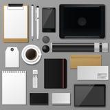 Ejemplo realista del vector de la opinión superior 3d de la identidad corporativa de la plantilla del negocio de la maqueta deter Imagen de archivo