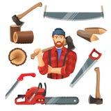 Ejemplo realista del vector de los artículos de la carpintería para la madera que asierra libre illustration
