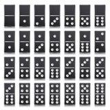 Ejemplo realista del vector del sistema completo del dominó Color negro Huesos clásicos de los dominós del juego en blanco Visión stock de ilustración